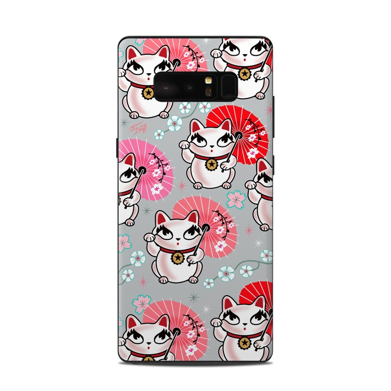 Samsung Galaxy Note 8 Skin design of Pink, Red, Cartoon, Design, Line, Textile, Pattern, Illustration, Smile, Fictional character with white, red, pink, gray, blue, black colors