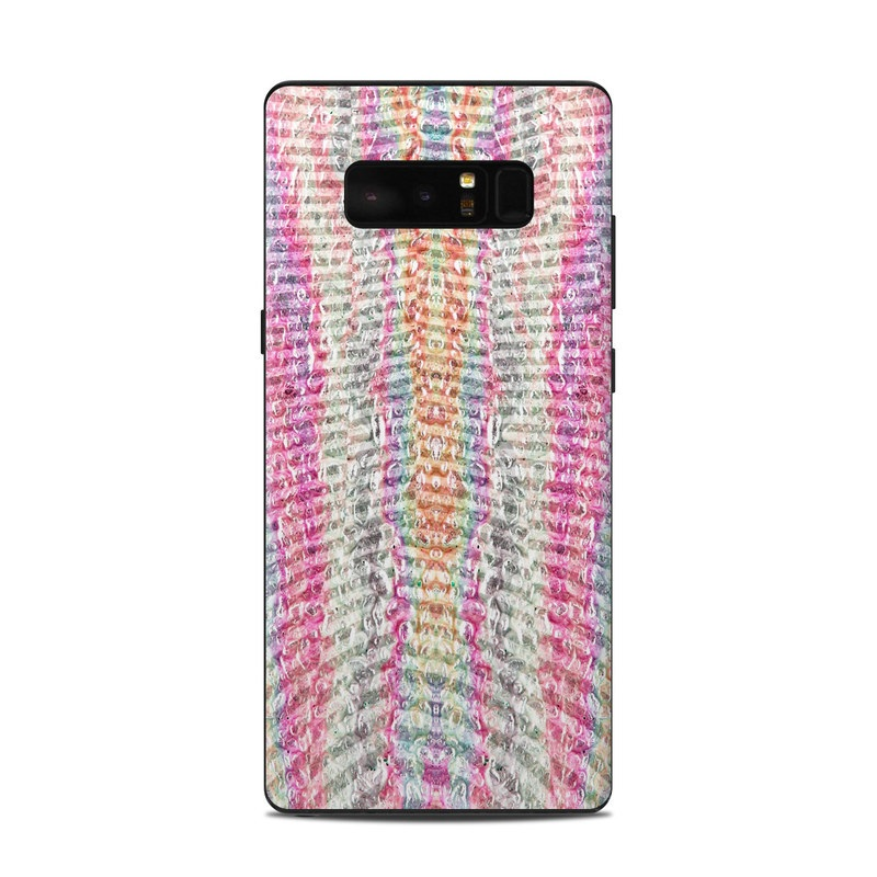 Samsung Galaxy Note 8 Skin design of Pink, Textile, Pattern, Knitting, Magenta, Thread, Woven fabric, Wool, Woolen with pink, orange, yellow, red, green, blue colors