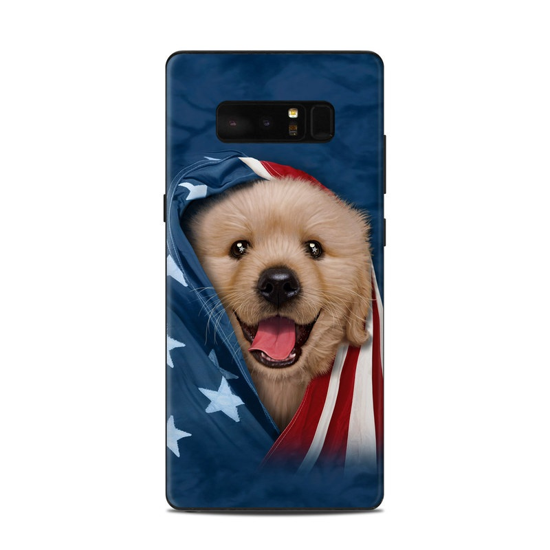 Samsung Galaxy Note 8 Skin design of Dog, Canidae, Mammal, Dog breed, Carnivore, Puppy, Snout, Companion dog, Sporting Group, Pomeranian with yellow, black, brown, white, blue, red colors