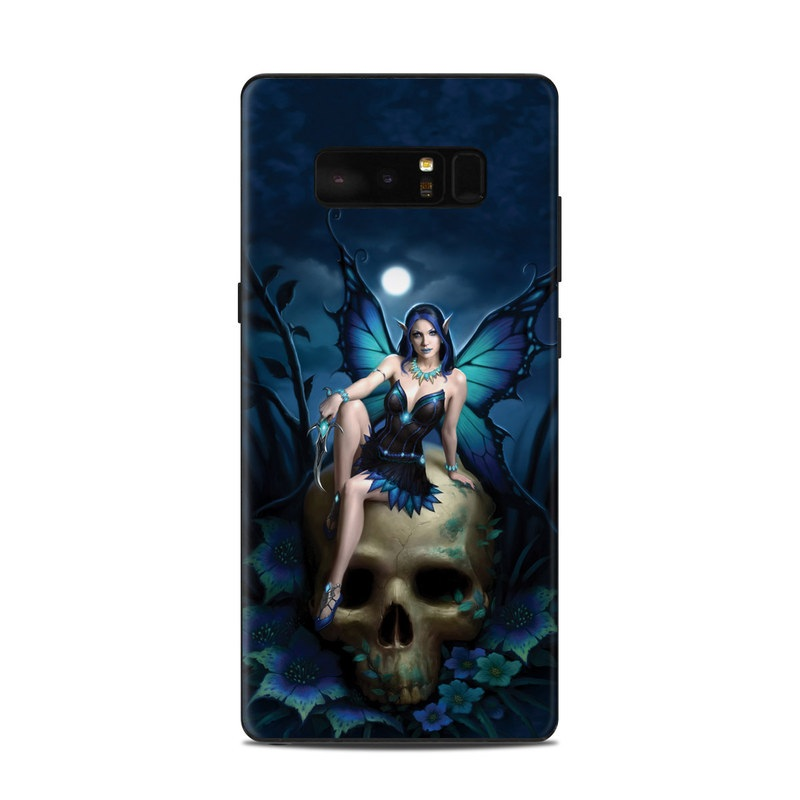 Samsung Galaxy Note 8 Skin design of Cg artwork, Blue, Skull, Illustration, Darkness, Photography, Fictional character, Bone, Woman warrior, Graphics with black, gray, blue colors
