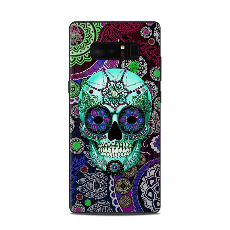 Samsung Galaxy Note 8 Skin design of Psychedelic art, Pattern, Skull, Purple, Bone, Violet, Design, Visual arts, Art, Magenta with blue, green, purple, red, green, pink colors