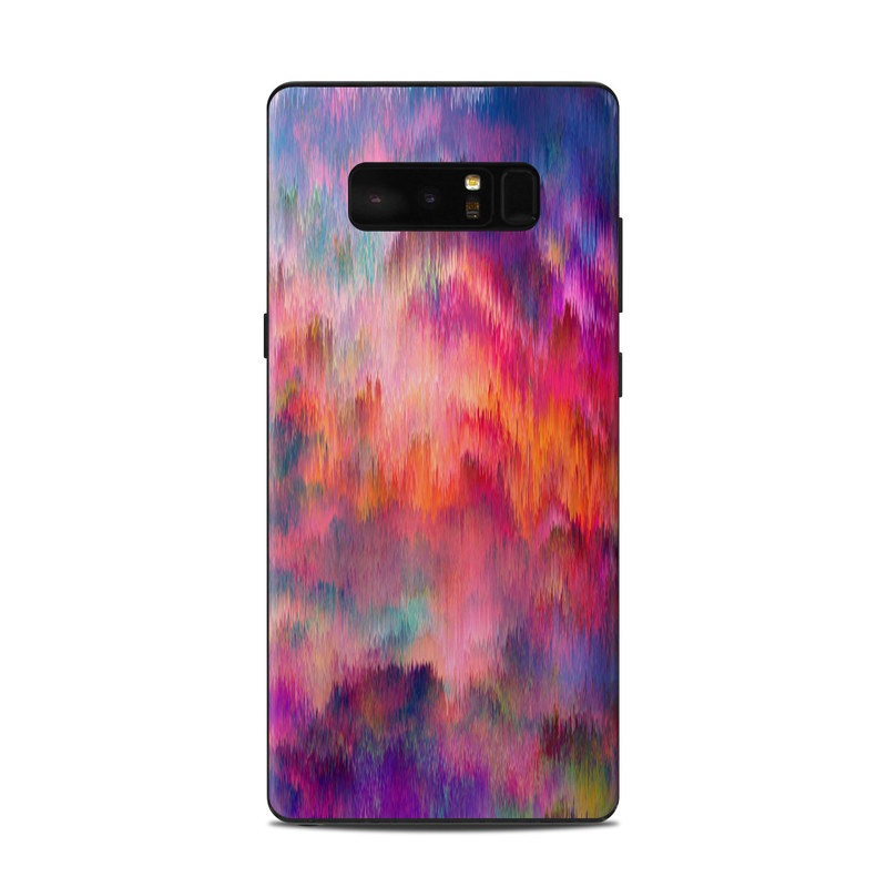Samsung Galaxy Note 8 Skin design of Sky, Purple, Pink, Blue, Violet, Painting, Watercolor paint, Lavender, Cloud, Art with red, blue, purple, orange, green colors