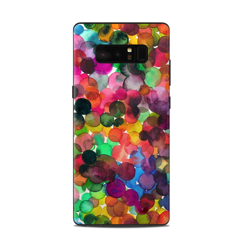Samsung Galaxy Note 8 Skin design of Colorfulness, Fashion accessory with red, white, pink, purple, blue, green, black, yellow, orange colors