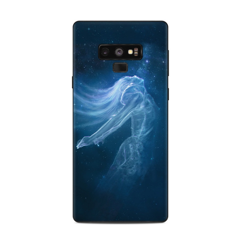 Samsung Galaxy Note 9 Skin design of Sky, Atmosphere, Water, Darkness, Space, Organism, Underwater, Bioluminescence, Night, Midnight with white, blue, black colors