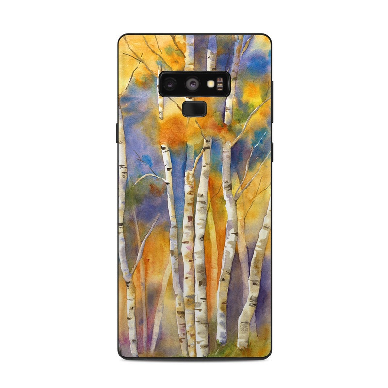 Samsung Galaxy Note 9 Skin design of Canoe birch, Watercolor paint, Tree, Birch, Woody plant, Painting, Plant, Birch family, Paint, Trunk with orange, yellow, green, white, purple, blue colors