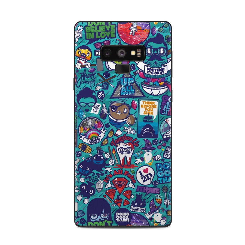 Samsung Galaxy Note 9 Skin design of Art, Visual arts, Illustration, Graphic design, Psychedelic art with blue, black, gray, red, green colors