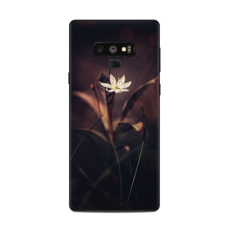 Samsung Galaxy Note 9 Skin design of Flower, Yellow, Light, Plant, Sky, Still life photography, Wildflower, Petal, Darkness, Spring with black, red colors