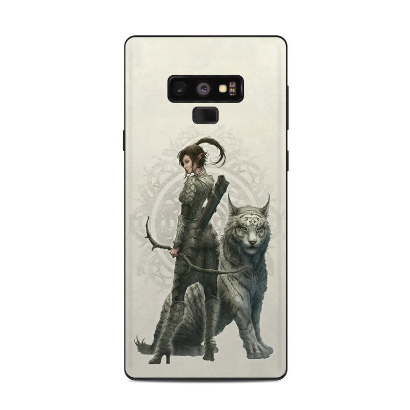Samsung Galaxy Note 9 Skin design of Illustration, Fictional character, Drawing, Woman warrior, Art, Mythology, Sketch with gray, black, pink, yellow, green colors