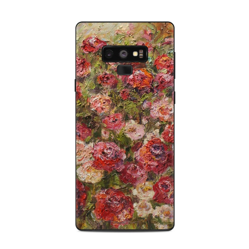 Samsung Galaxy Note 9 Skin design of Flower, Garden roses, Rose, Plant, Floribunda, Flowering plant, Rosa × centifolia, Rose family, Botany, Petal with red, black, green, gray colors