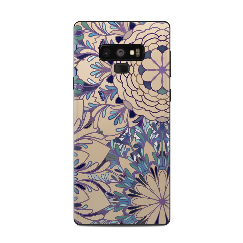 Samsung Galaxy Note 9 Skin design of Pattern, Floral design, Design, Visual arts, Motif, Textile, Flower, Plant, Ornament, Pedicel with brown, blue, purple, green colors