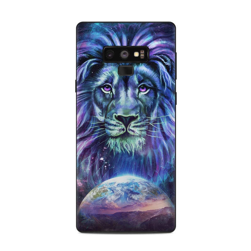Samsung Galaxy Note 9 Skin design of Lion, Felidae, Purple, Wildlife, Big cats, Illustration, Darkness, Space, Painting, Art with purple, blue, green, black, white, red colors