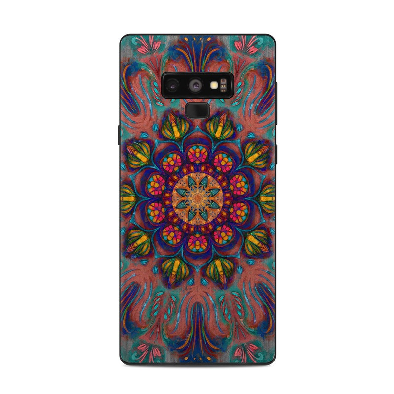 Samsung Galaxy Note 9 Skin design of Psychedelic art, Pattern, Art, Textile, Symmetry, Visual arts, Design, Fractal art, Kaleidoscope, Tapestry with blue, yellow, red, green, pink, green colors