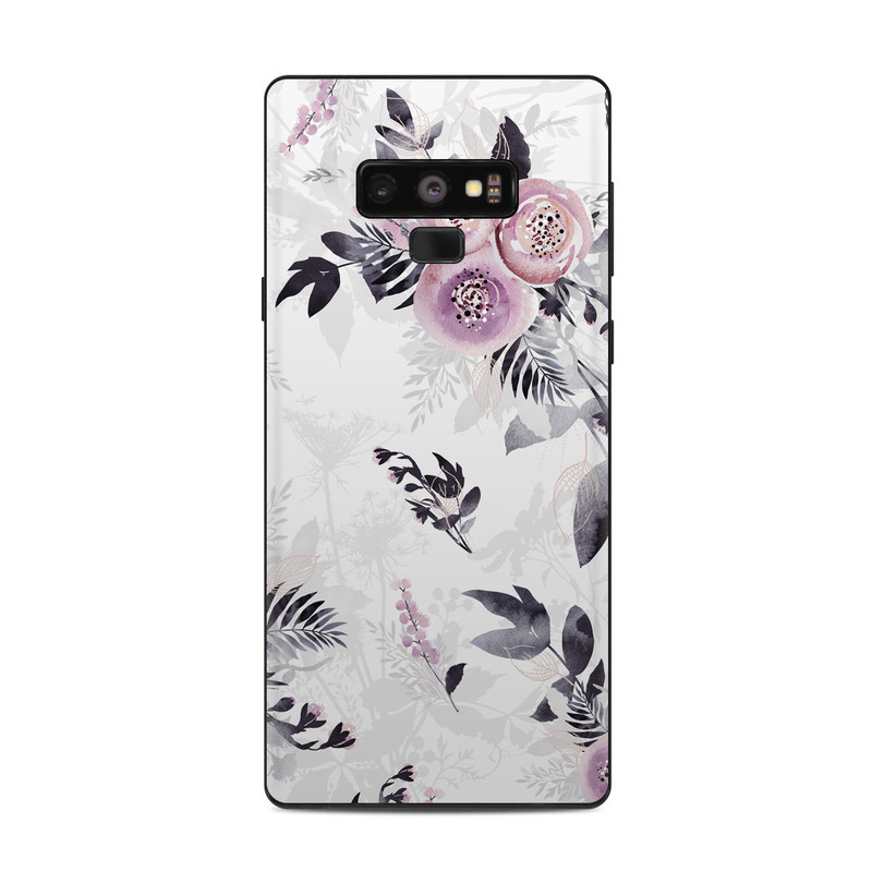 Samsung Galaxy Note 9 Skin design of Pink, Pattern, Design, Floral design, Textile, Plant, Flower, Magenta, Petal, Wallpaper with white, purple, pink, black, gray colors