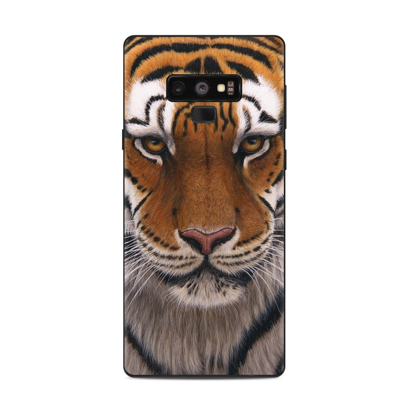 Samsung Galaxy Note 9 Skin design of Tiger, Mammal, Wildlife, Terrestrial animal, Vertebrate, Bengal tiger, Whiskers, Siberian tiger, Felidae, Snout with black, gray, red, green, pink colors