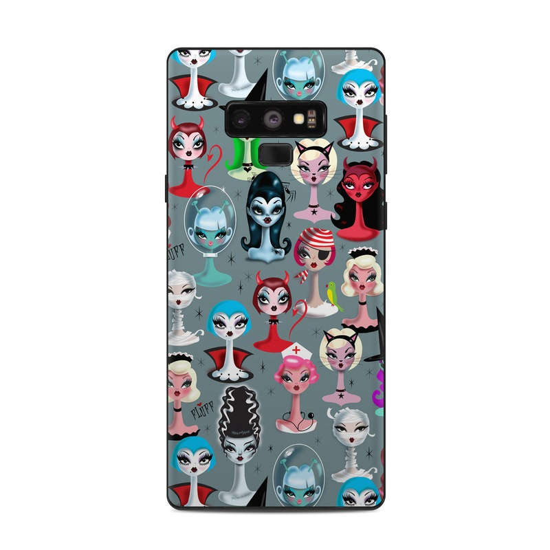 Samsung Galaxy Note 9 Skin design of Facial expression, Head, Design, Collection, Fictional character, Pattern, Skull, Illustration, Collage, Style with gray, white, red, blue, green, black, pink, purple colors