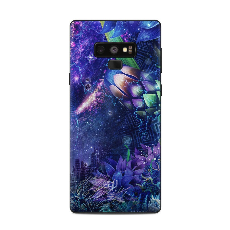 Samsung Galaxy Note 9 Skin design of Blue, Purple, Violet, Lavender, Majorelle blue, Psychedelic art, Electric blue, Organism, Art, Design with blue, green, purple, red, pink colors