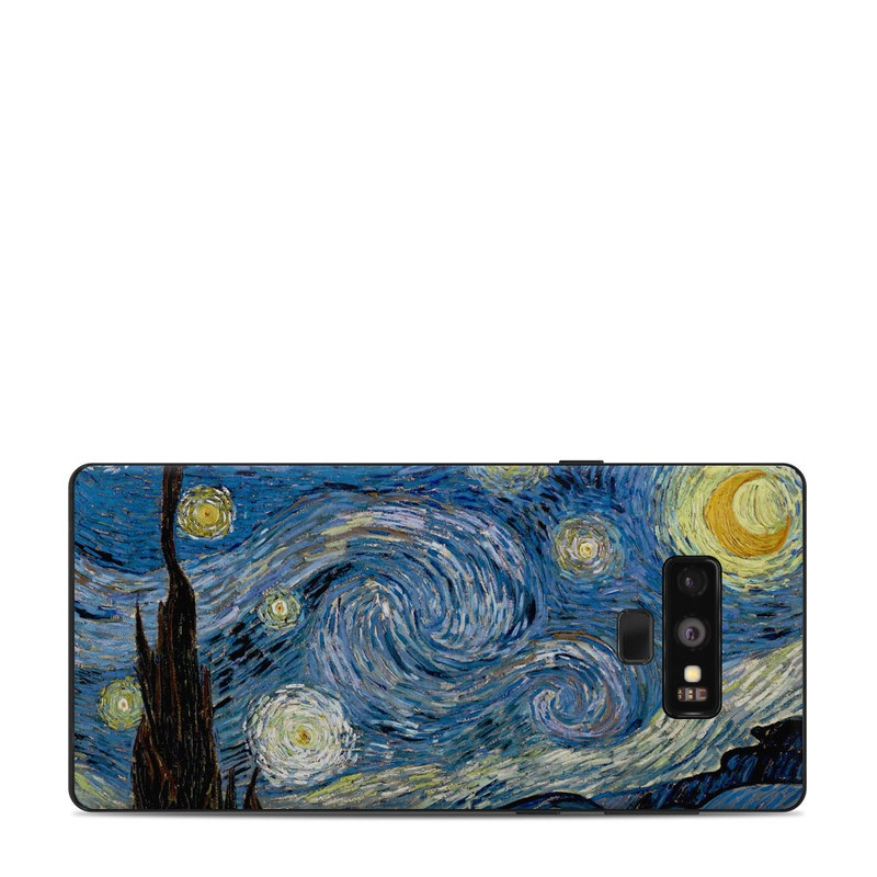 Samsung Galaxy Note 9 Skin design of Painting, Purple, Art, Tree, Illustration, Organism, Watercolor paint, Space, Modern art, Plant with gray, black, blue, green colors