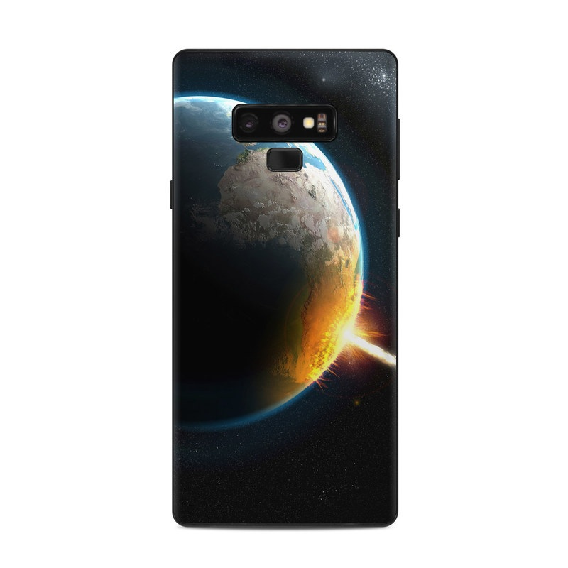 Samsung Galaxy Note 9 Skin design of Outer space, Planet, Astronomical object, Atmosphere, Space, Earth, Universe, Collision, World, Sky with black, blue, yellow, orange colors