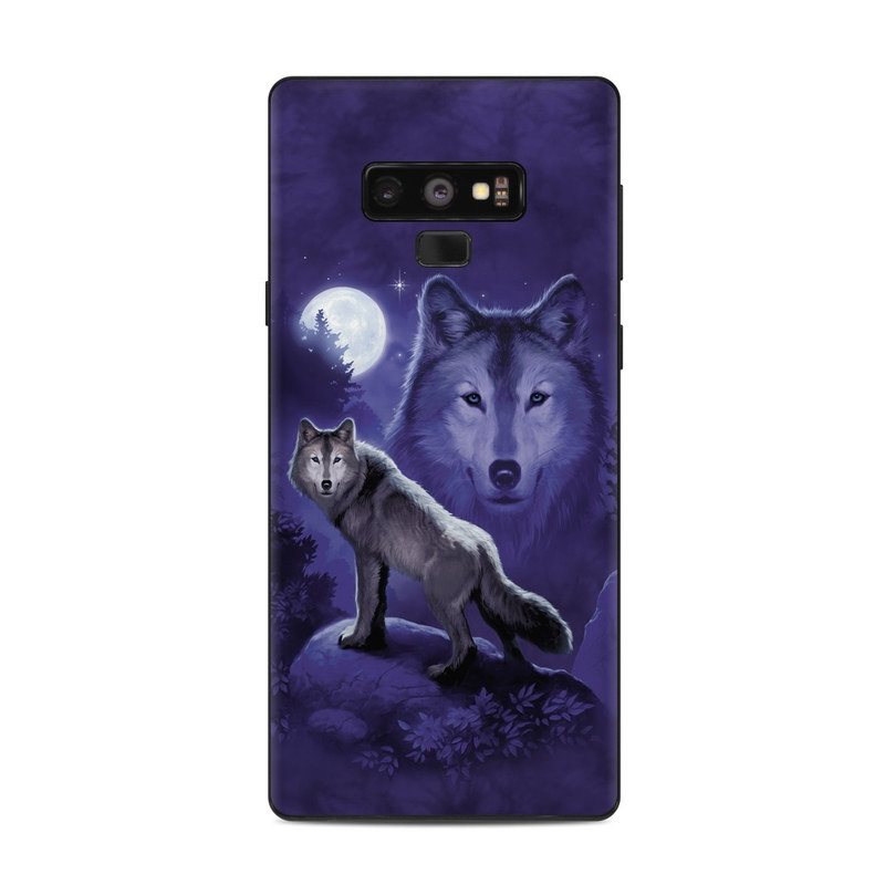 Samsung Galaxy Note 9 Skin design of Wolf, Canidae, canis lupus tundrarum, Canis, Wolfdog, Dog, Native american indian dog, Wildlife, Sakhalin husky, Moonlight with blue, black, gray colors