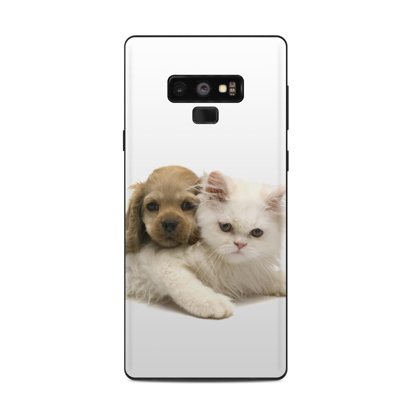 Samsung Galaxy Note 9 Skin design of Mammal, Vertebrate, Cat, Canidae, Puppy, Carnivore, Dog, Dog breed, Felidae, Kitten with gray, white, green, black, pink, yellow colors