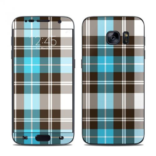 Turquoise Plaid Galaxy S7 Skin