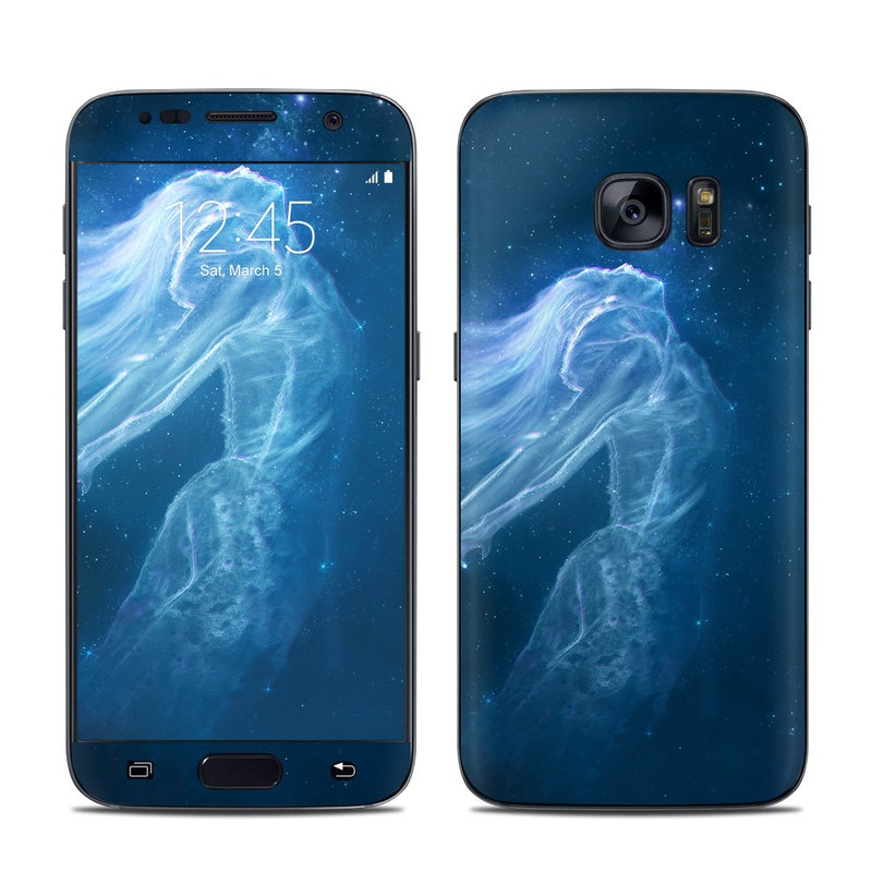 Samsung Galaxy S7 Skin design of Sky, Atmosphere, Water, Darkness, Space, Organism, Underwater, Bioluminescence, Night, Midnight with white, blue, black colors