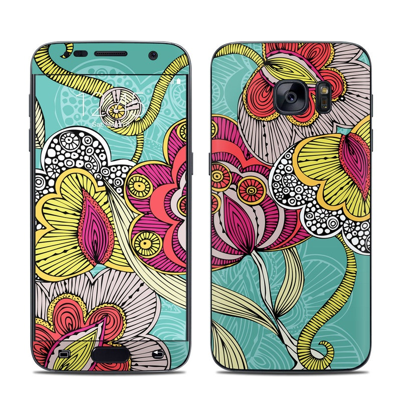 Samsung Galaxy S7 Skin design of Pattern, Visual arts, Motif, Floral design, Design, Art, Plant, Flower, Organism, Textile with red, yellow, blue, gray, pink colors