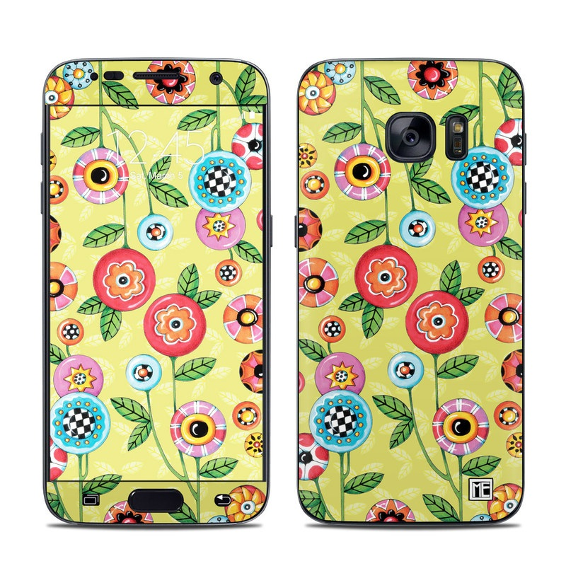 Button Flowers Galaxy S7 Skin
