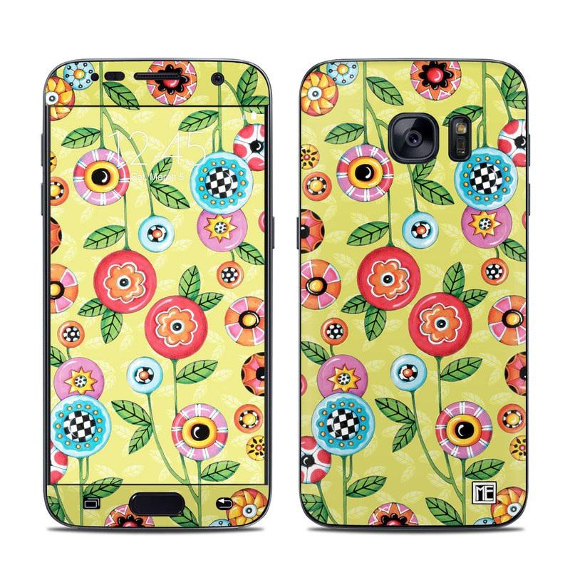 Button Flowers Galaxy S7 Skin