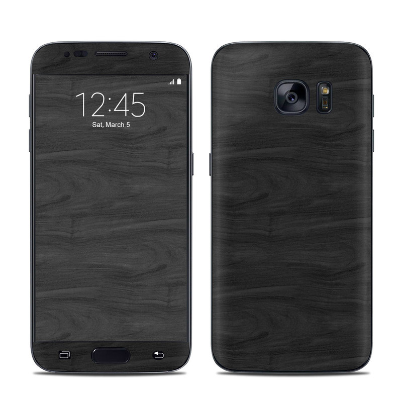 Samsung Galaxy S7 Skin design of Black, Brown, Wood, Grey, Flooring, Floor, Laminate flooring, Wood flooring with black colors