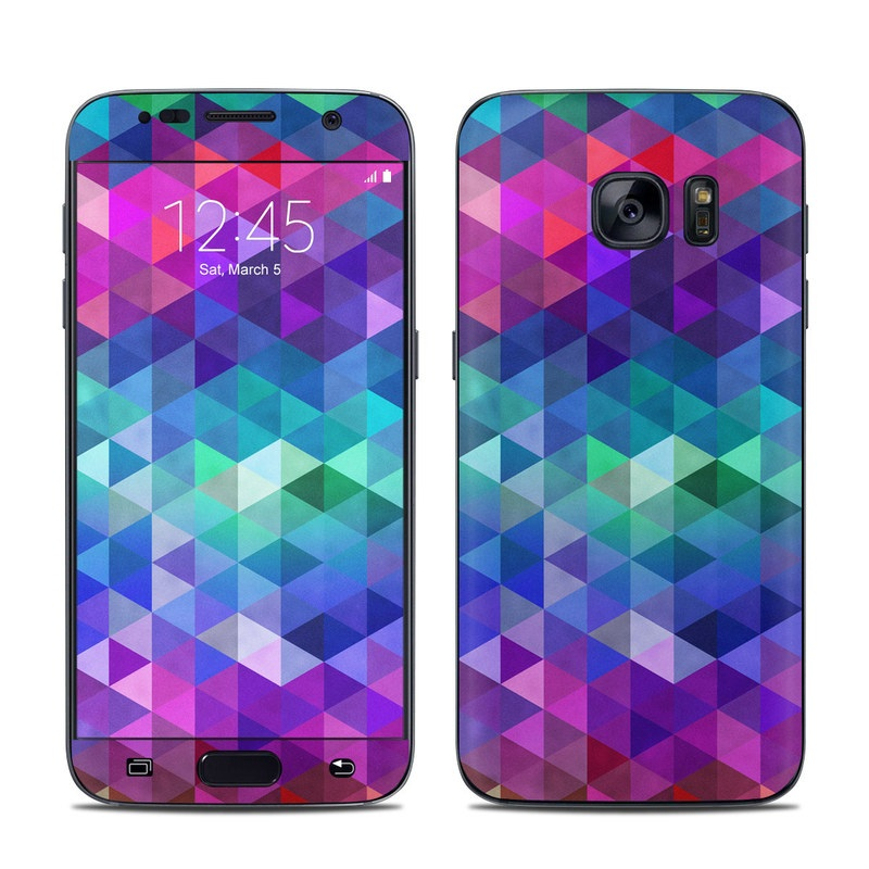 Samsung Galaxy S7 Skin design of Purple, Violet, Pattern, Blue, Magenta, Triangle, Line, Design, Graphic design, Symmetry with blue, purple, green, red, pink colors