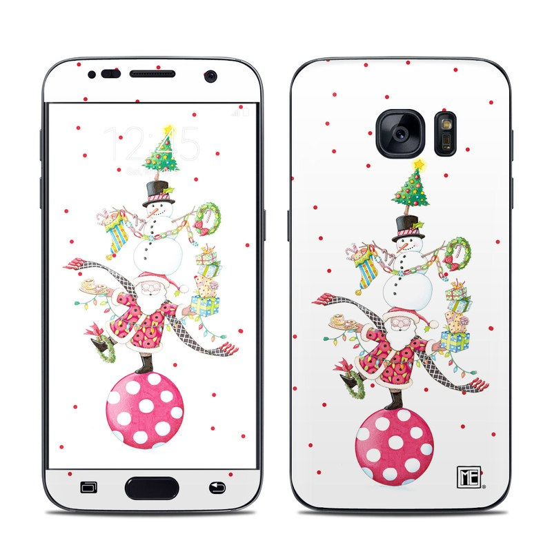 Samsung Galaxy S7 Skin design of Clip art, Holiday ornament, Fictional character with white, red, green, black, blue colors
