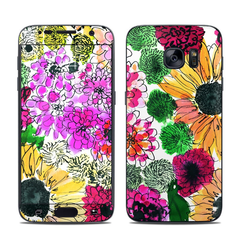 Samsung Galaxy S7 Skin design of Flower, Floral design, Plant, Gazania, african daisy, Petal, Pattern, Botany, Wildflower, Design with red, yellow, green, pink, black colors