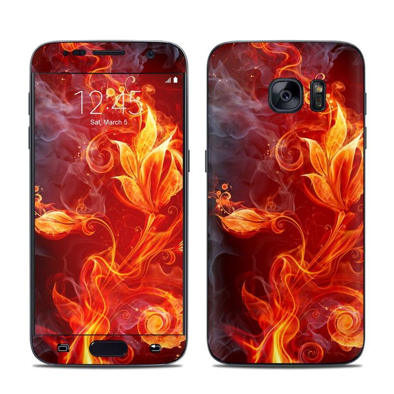 Samsung Galaxy S7 Skin design of Flame, Fire, Heat, Red, Orange, Fractal art, Graphic design, Geological phenomenon, Design, Organism with black, red, orange colors