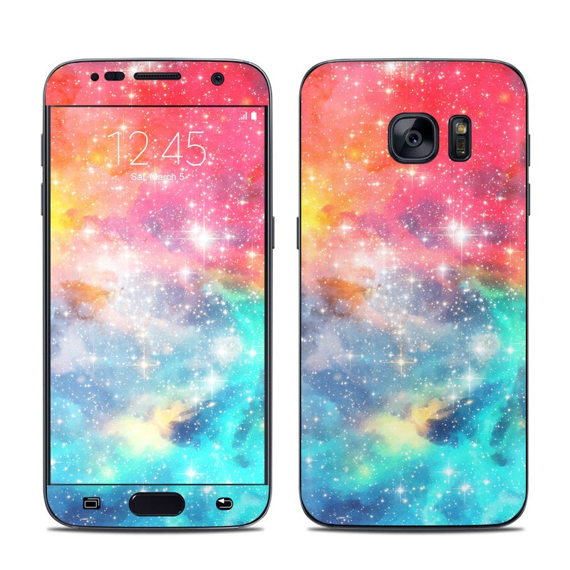 Samsung Galaxy S7 Skin design of Nebula, Sky, Astronomical object, Outer space, Atmosphere, Universe, Space, Galaxy, Celestial event, Star with white, black, red, orange, yellow, blue colors