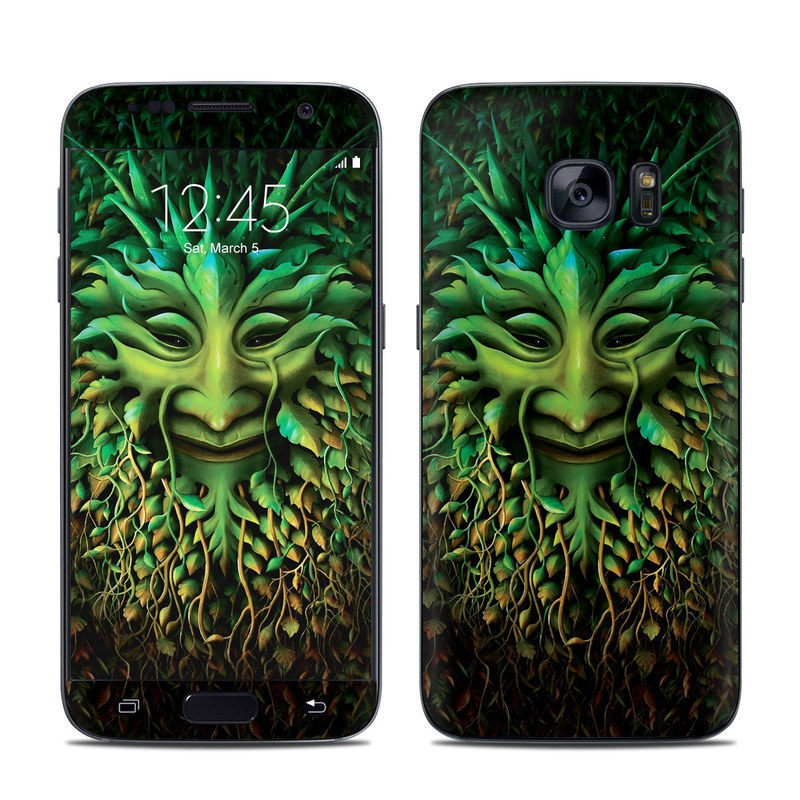 Samsung Galaxy S7 Skin design of Green, Organism, Art, Illustration, Leaf, Poster, Wildlife, Adaptation, Visual arts, Graphic design with black, green colors