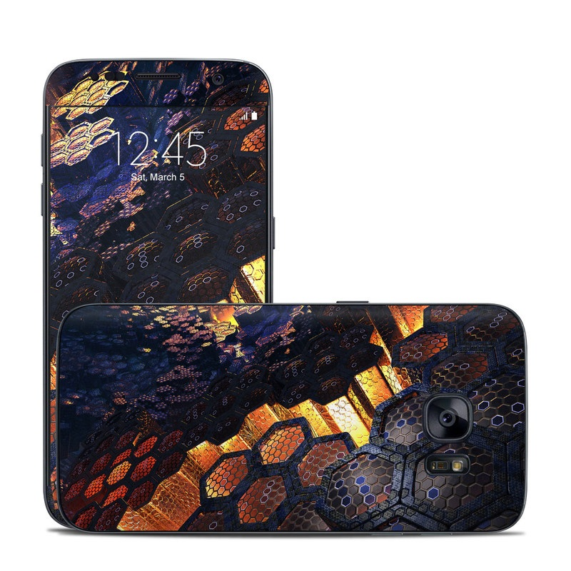 Samsung Galaxy S7 Skin design of Geological phenomenon, Sky, Water, Cobblestone, Rock, Reflection, Colorfulness, World, Art with black, red, green colors
