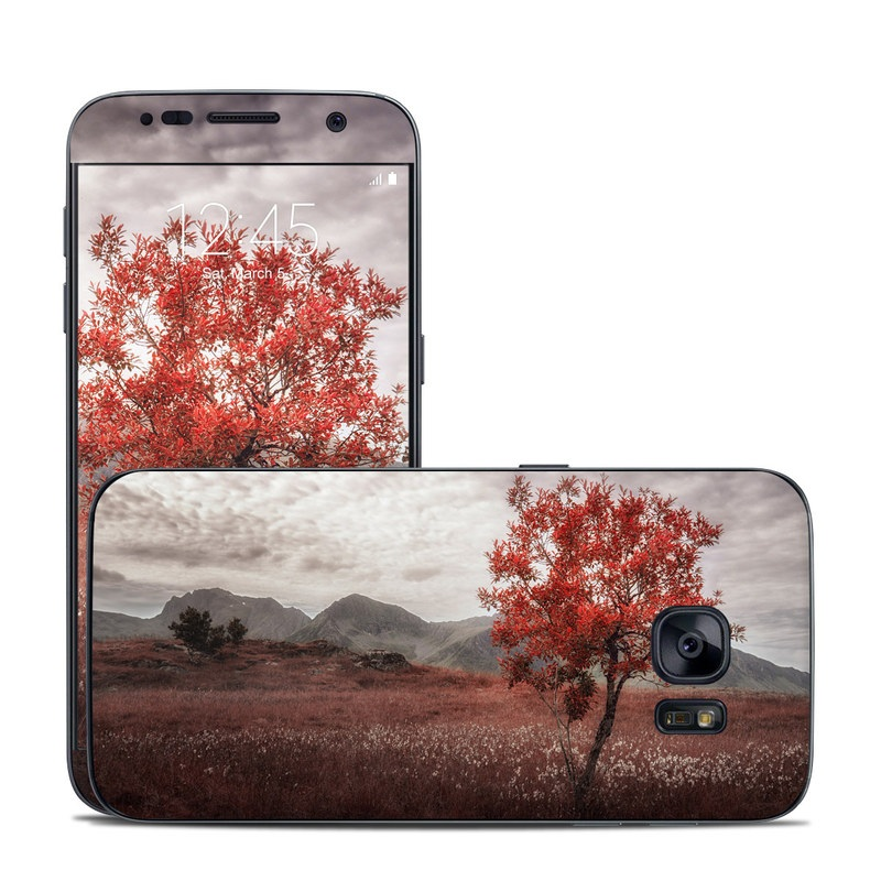 Samsung Galaxy S7 Skin design of Natural landscape, Nature, Tree, Sky, Red, Natural environment, Atmospheric phenomenon, Leaf, Cloud, Woody plant with black, gray, red colors