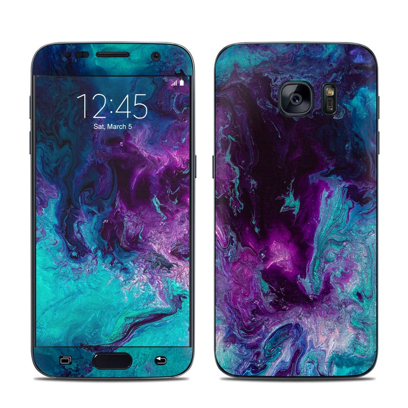 Samsung Galaxy S7 Skin design of Blue, Purple, Violet, Water, Turquoise, Aqua, Pink, Magenta, Teal, Electric blue with blue, purple, black colors