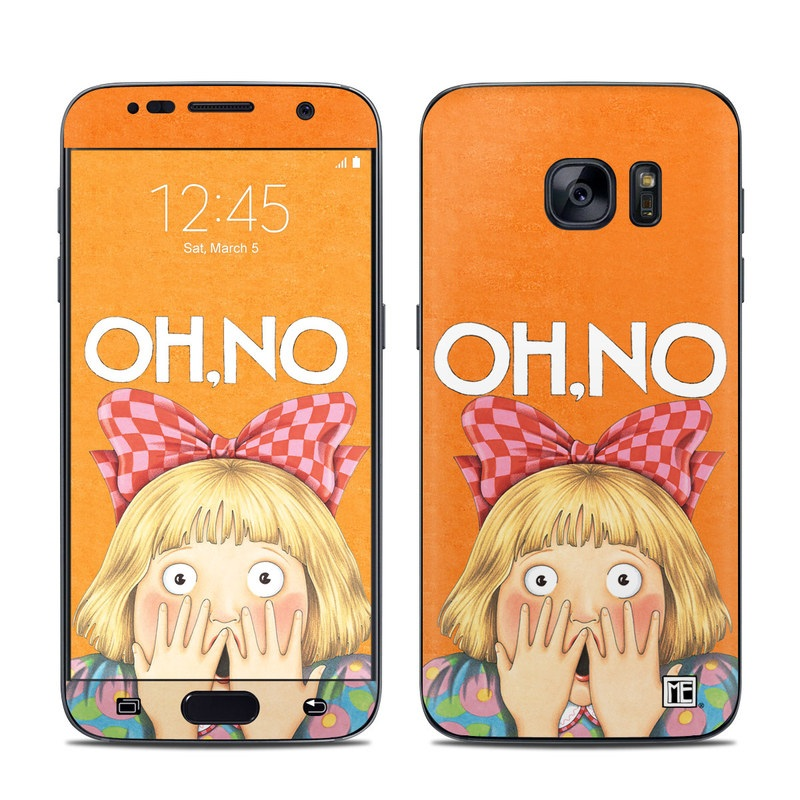 Samsung Galaxy S7 Skin design of Cartoon, Nose, Illustration, Poster, Art, Fiction, Book cover, Happy, Gesture with orange, pink, gray, green, red, white colors