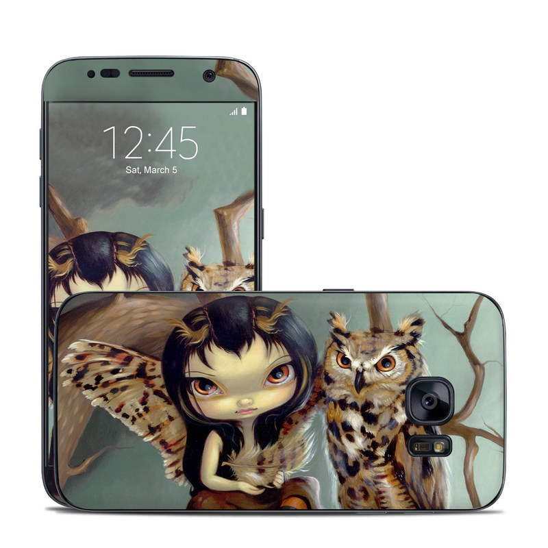 Samsung Galaxy S7 Skin design of Owl, Bird, Bird of prey, Eastern Screech owl, Great horned owl, Screech owl, Wildlife, Illustration, Art with black, gray, red, green, blue colors