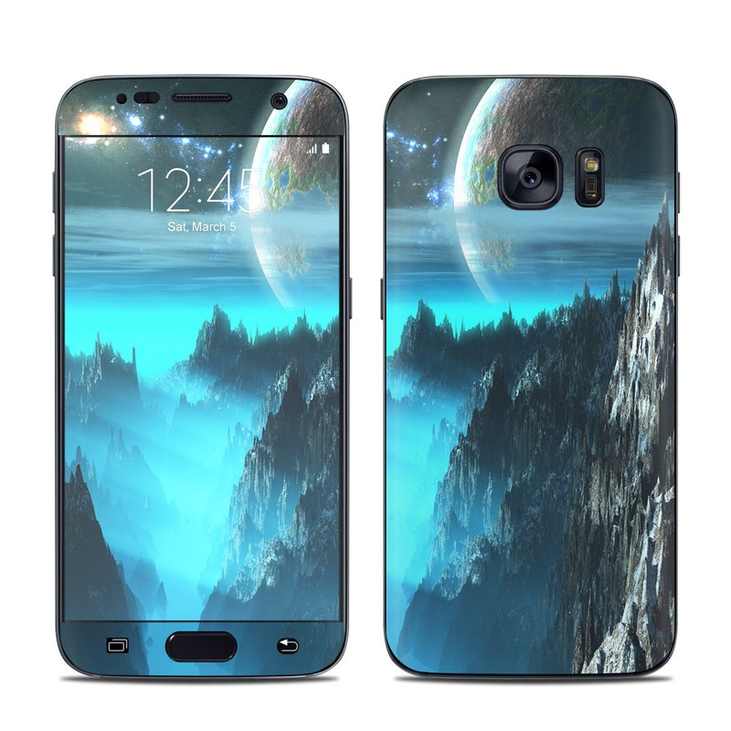 Samsung Galaxy S7 Skin design of Space, Astronomical object, Sky, Earth, Atmosphere, Planet, World, Outer space, Cg artwork, Screenshot with black, blue, gray, yellow, orange colors