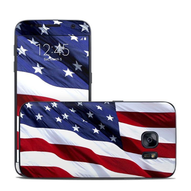 Samsung Galaxy S7 Skin design of Flag, Flag of the united states, Flag Day (USA), Veterans day, Memorial day, Holiday, Independence day, Event with red, blue, white colors