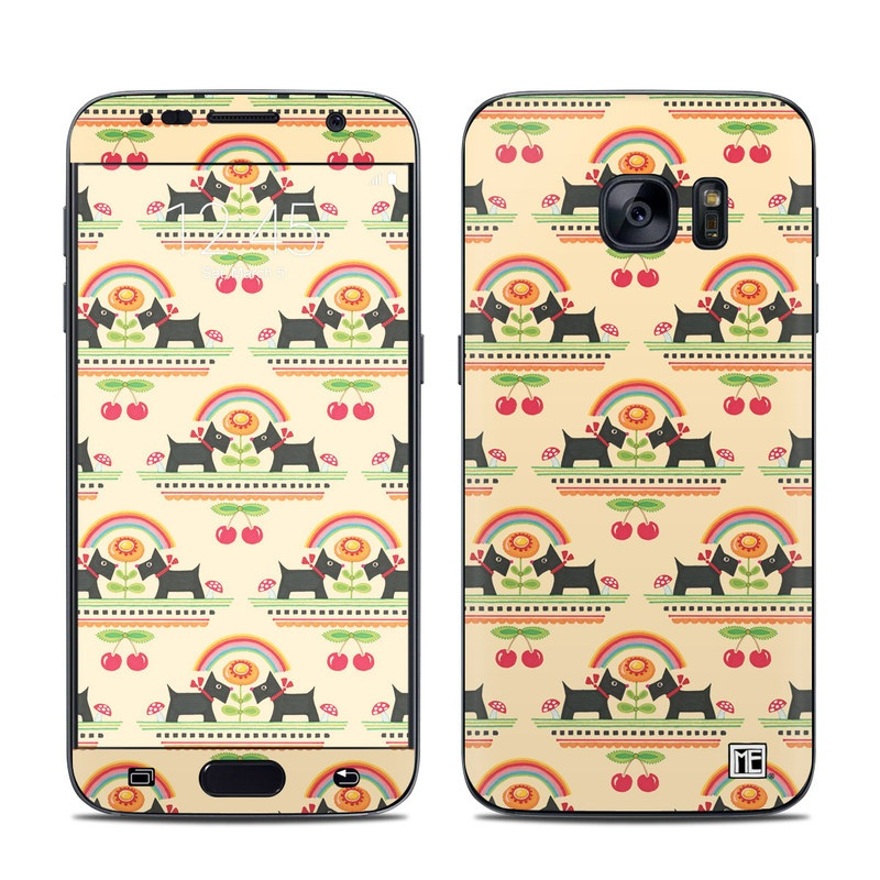 Samsung Galaxy S7 Skin design of Yellow, Pattern, Line, Textile, Design with pink, gray, black, green, orange, red colors