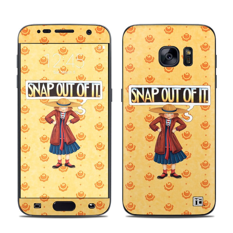 Samsung Galaxy S7 Skin design of Cartoon, Illustration, Poster, Animated cartoon, Fiction, Anime, Art, Fictional character, Games with pink, orange, black, red, gray, white colors