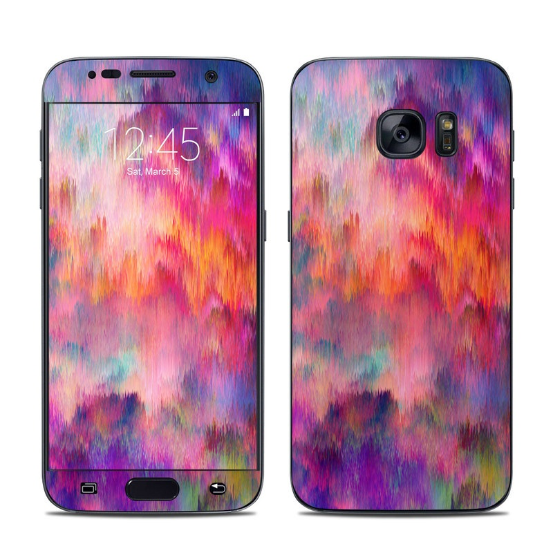 Samsung Galaxy S7 Skin design of Sky, Purple, Pink, Blue, Violet, Painting, Watercolor paint, Lavender, Cloud, Art with red, blue, purple, orange, green colors