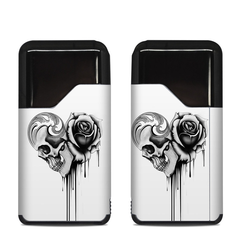 Suorin Air Skin design of Black-and-white, Illustration, Monochrome, Rose, Plant, Style, Metal, Drawing with white, black, gray colors