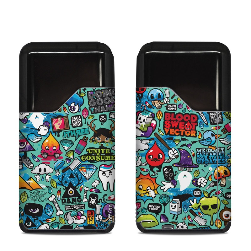 Suorin Air Skin design of Cartoon, Art, Pattern, Design, Illustration, Visual arts, Doodle, Psychedelic art with black, blue, gray, red, green colors