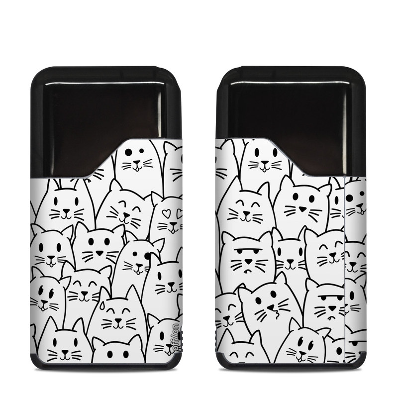 Suorin Air Skin design of White, Line art, Text, Black, Pattern, Black-and-white, Line, Design, Font, Organism with white, black colors