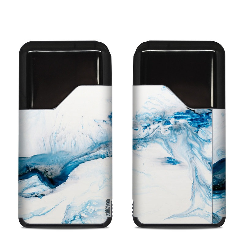Suorin Air Skin design of Glacial landform, Blue, Water, Glacier, Sky, Arctic, Ice cap, Watercolor paint, Drawing, Art with white, blue, black colors